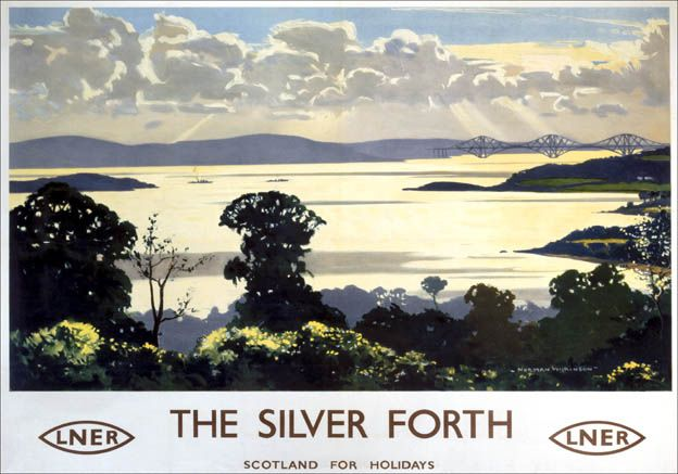 Poster produced by London & North Eastern Railway (LNER) to promote rail travel to Scotland. The poster shows a view of the Silver Forth from Fife. 1935. Artwork by Norman Wilkinson, who studied art at Portsmouth and Southsea Schools of Art.