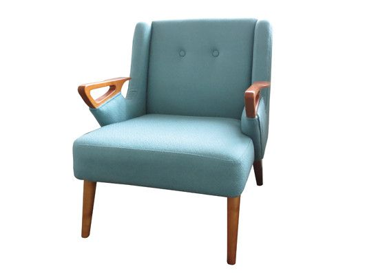 Deco Chair: Cushioned retro sofa chair, with beautiful timber framing