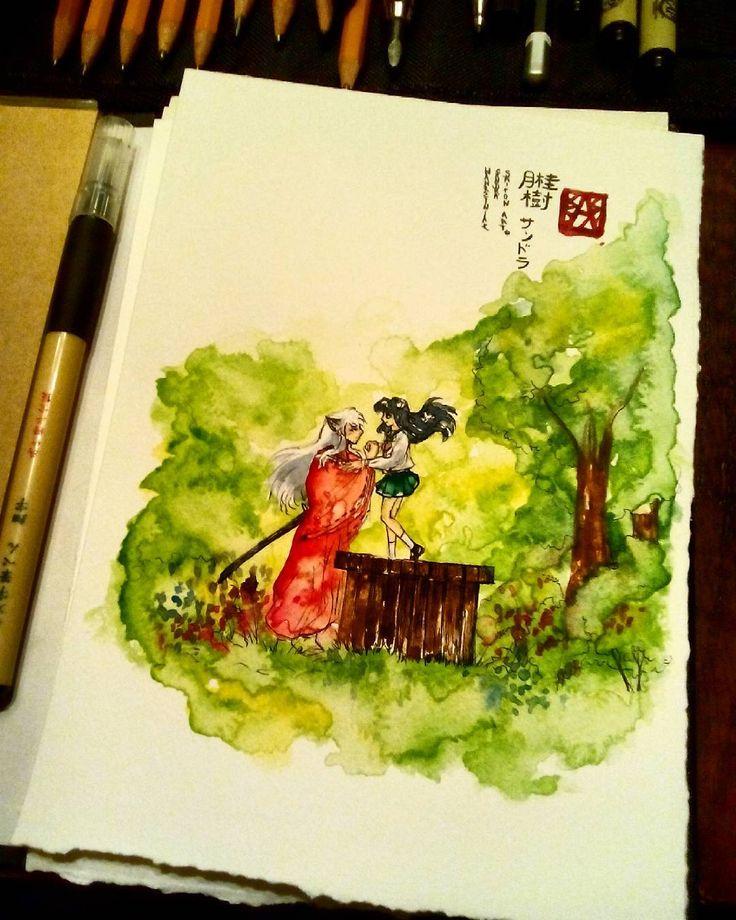 #oldtimes #inuyasha #kagome #fanart #anime #manga #drawing #painting #watercolor