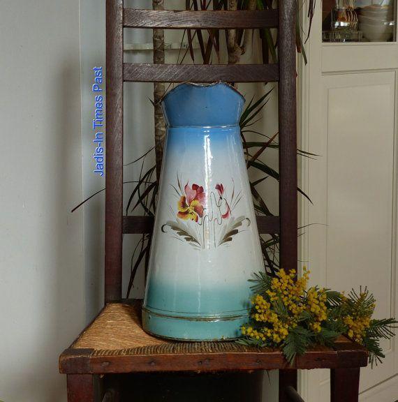 Vintage Enamelware Water Pitcher.  Enamelware by JadisInTimesPast