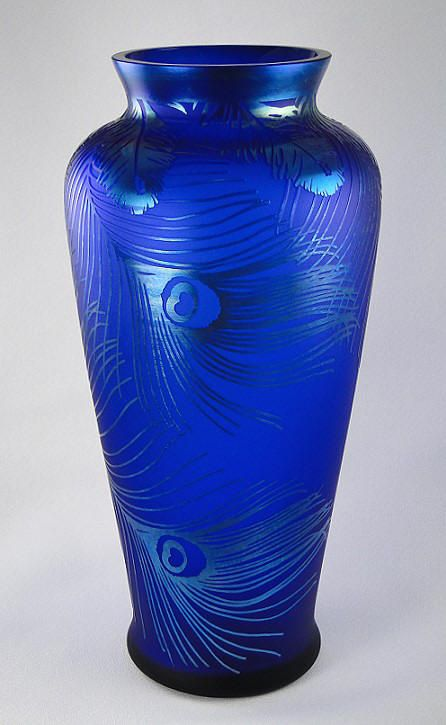 "Vase - ""Peacock Feathers"" designed by Favrene - Art Glass - colbalt blue"
