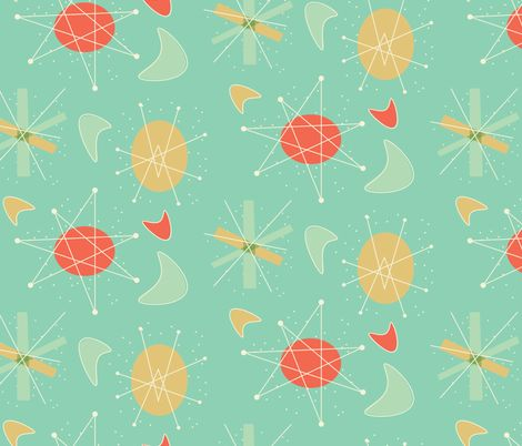 60s Atomic Pattern Fabric By 60designs On Spoonflower Custom Inspiration 1950s Patterns