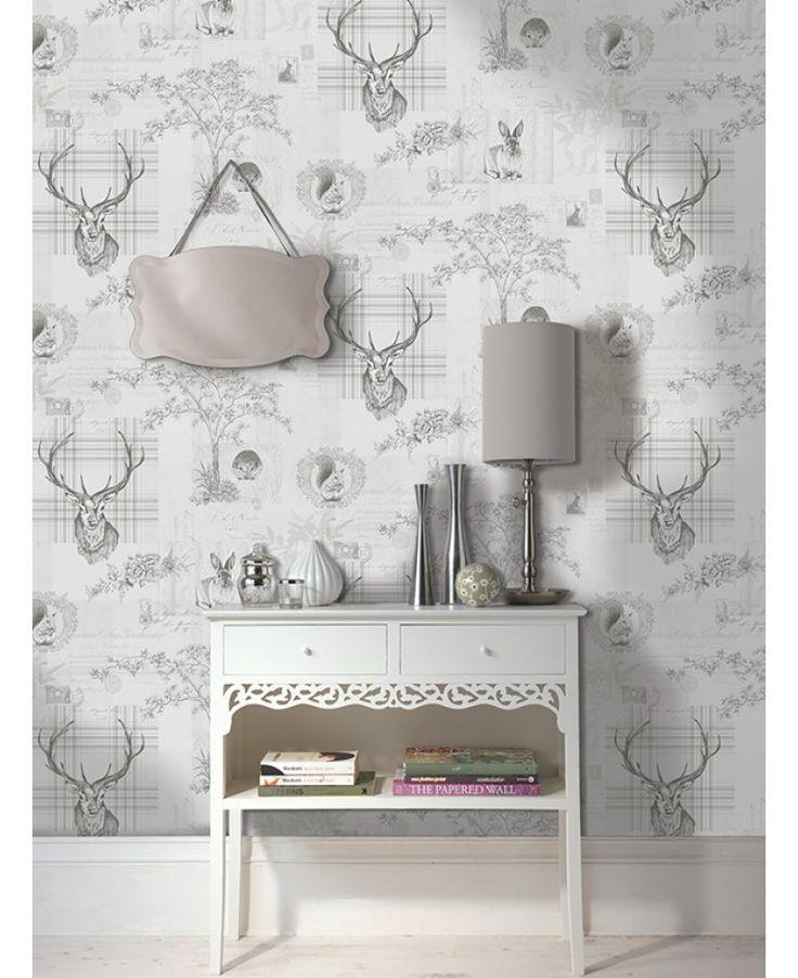 Stunning woodland animals design wallpaper, features metallic silver highlights.