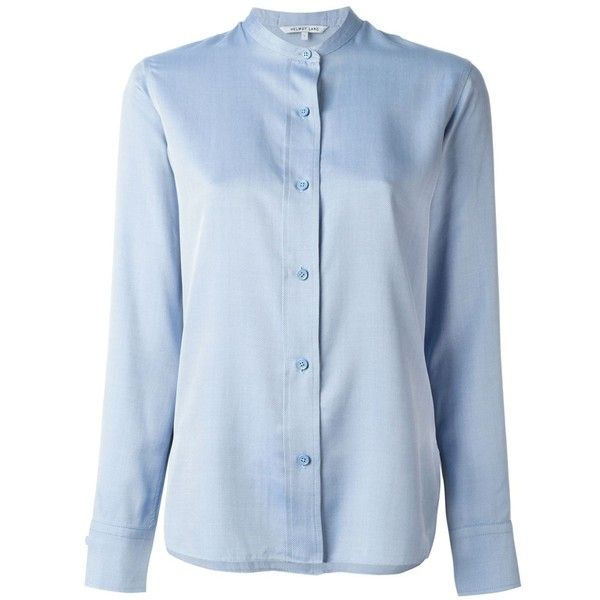 Helmut Lang Mandarin Collar Shirt ($398) ❤ liked on Polyvore featuring tops, blue, shirts & tops, helmut lang, mandarin collar shirt, blue top and mandarin collar top