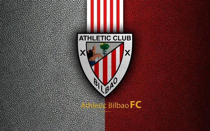 Download wallpapers Athletic Bilbao FC, 4k, Spanish football club, La Liga, logo, emblem, leather texture, Bilbao, Spain, football