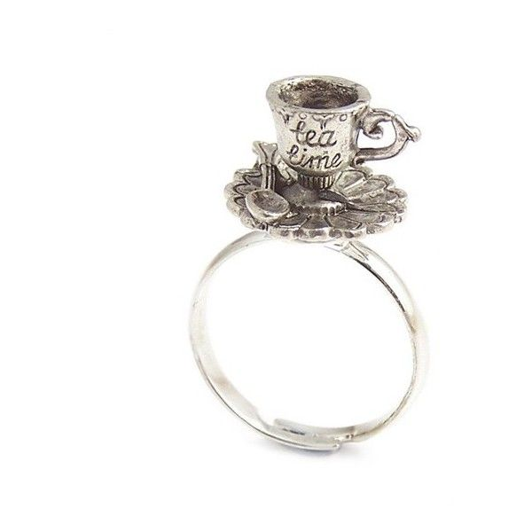Tea cup ring Alice in Wonderland ring Darling little TEA TIME charm... (80 BRL) ❤ liked on Polyvore featuring jewelry, rings, accessories, alice in wonderland, anillos, star ring, round ring, star jewelry, wrap ring and heart jewelry
