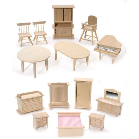 Bare Wooden Doll House Furniture Set Of 12 Pcs A Little