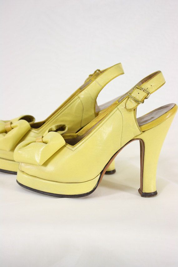 RESERVED Vintage 1940's Sungold Yellow Puffy Bow Platform