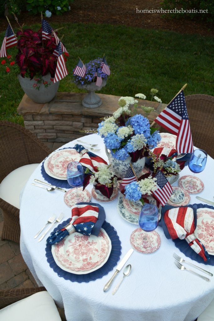 Three Cheers For The Red White Blue Patriotic Tablescape Round