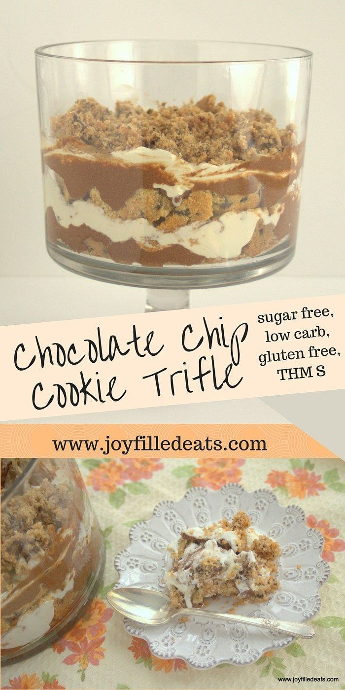 This sugar free, low carb, gluten free Chocolate Chip Cookie Trifle has layers of homemade cookies, chocolate pudding, and fresh whipped cream. It is all that you imagine. THM S