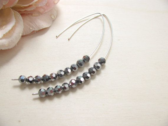 Handmade Sparkling earrings Minimal earrings Gray crystal beads Elegant earrings