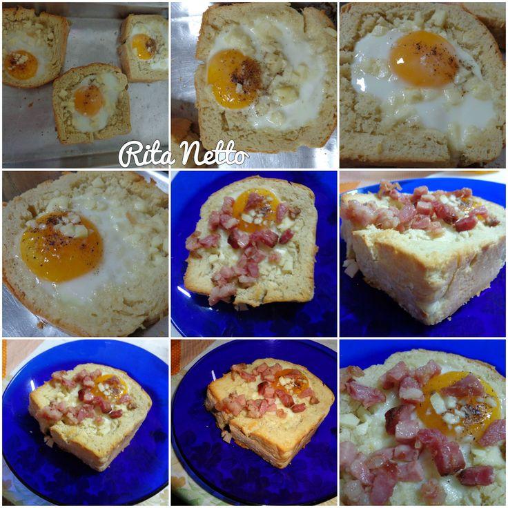 Pão caseiro, ovo e bacon.