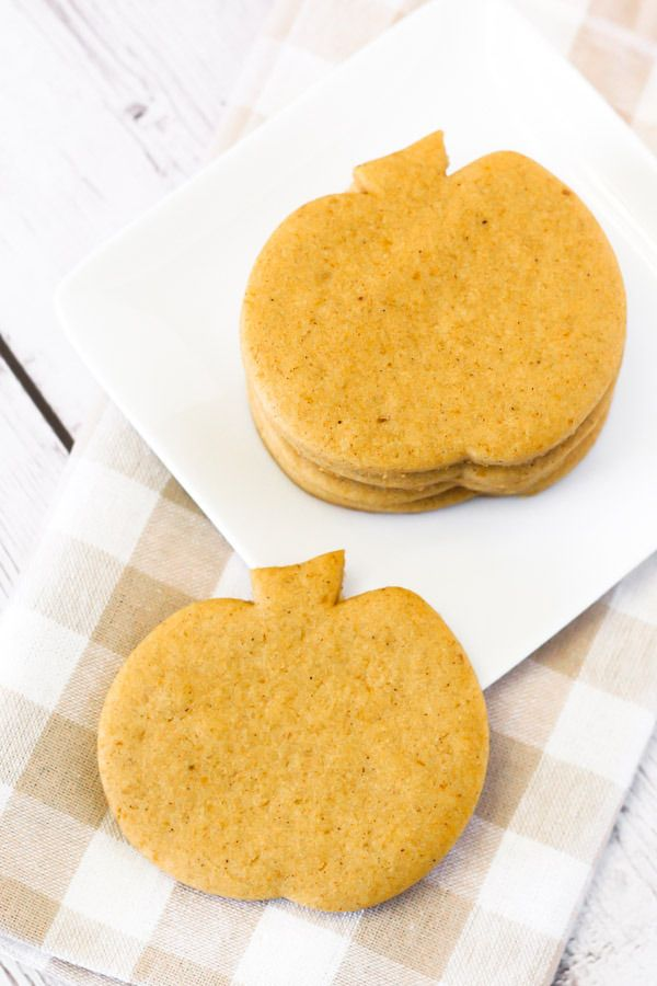 """These are too cute! gluten free vegan pumpkin cutout cookies via @sarahbakesgfree ... I like to call sugar cookies """"celebration cookies"""". We make them at Christmas time, at Easter too, even for birthdays. They are like a blank canvas for whatever the holiday may be."""