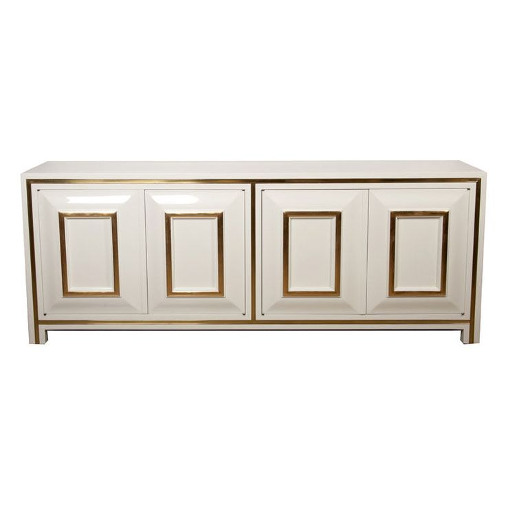 cadenza furniture. white lacquer credenza with brass inset by mastercraft cadenza furniture