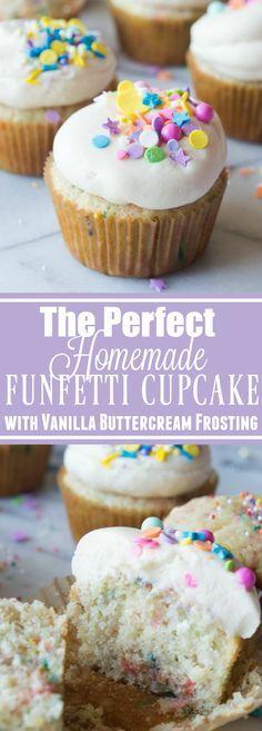 The Perfect Homemade Funfetti Cupcake with Vanilla Buttercream Recipe