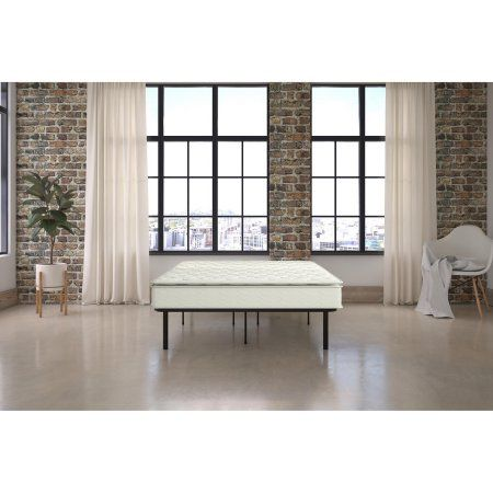 Signature Sleep Gold Siesta 13 inch Independently Encased Coil Pillow Top Mattress & Platform Bed with Euro Wood Slats, Multiple Sizes
