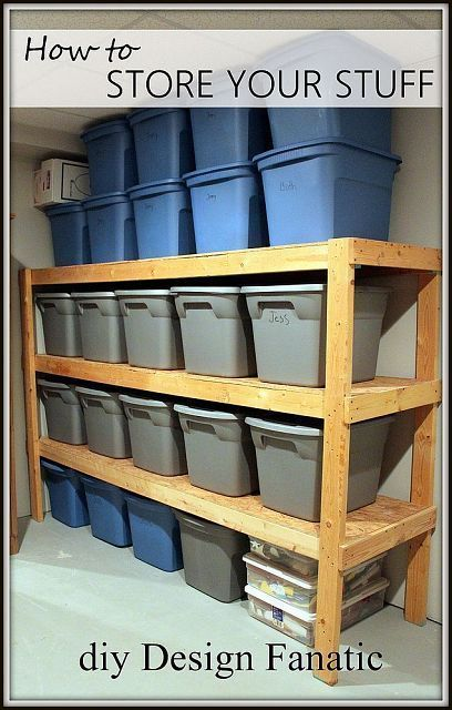 Simple 2x4 storage shelves - only thing I'd change is to add vertical support pieces (1x4) on the inside of the shelf verticals to take some load off the screws/nails (structurally similar to WCB-approved worksite-built ladders).
