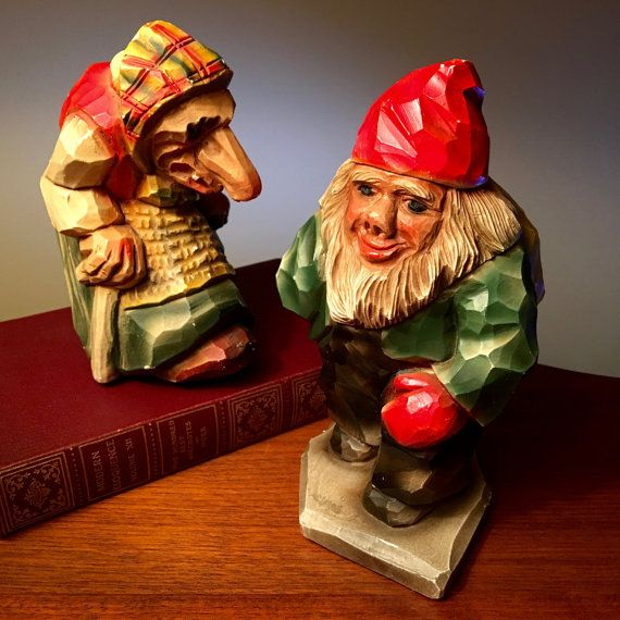 Rustic old man and woman chalkware couple made in Norway from