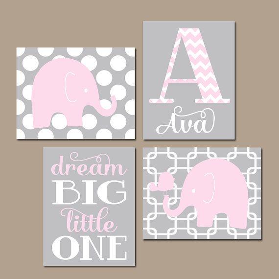 Girl ELEPHANT Nursery Wall Art, Pink Gray Nursery, Baby Girl Nursery Artwork, Dream Big Girl Bedroom Pictures, CANVAS or Prints Set of 4