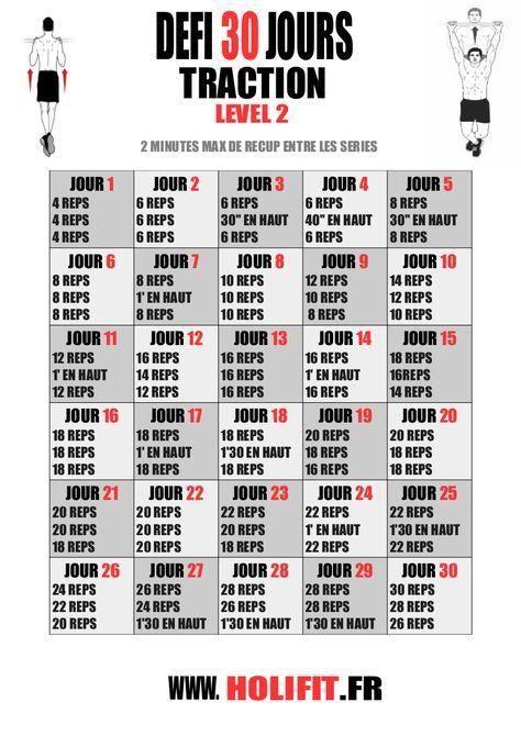 Ce défi de 30 jours vous propose une progression pour vous améliorer en traction. Un exercice de base de la musculation pour le dos