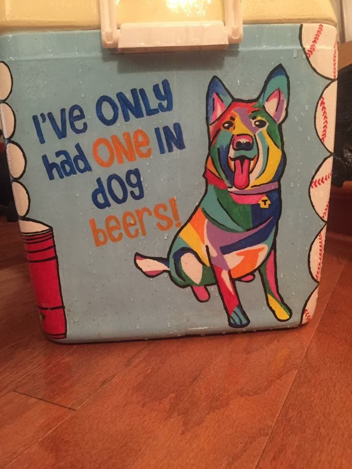 colorful dog beer cooler