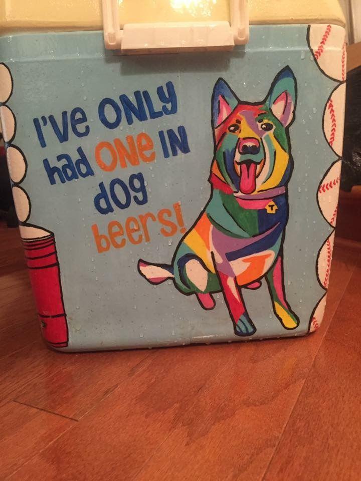 colorful dog beer cooler