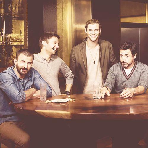 Chris Evans, Jeremy Renner, Chris Hemsworth, and Robert Downey, Jr.