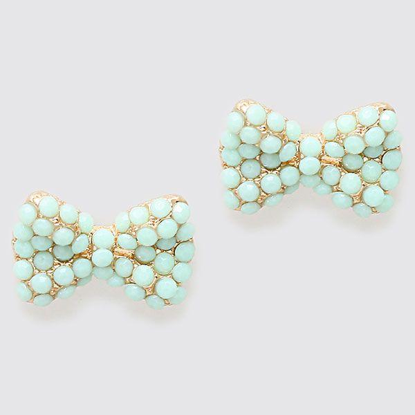 sweet little mint bow earrings