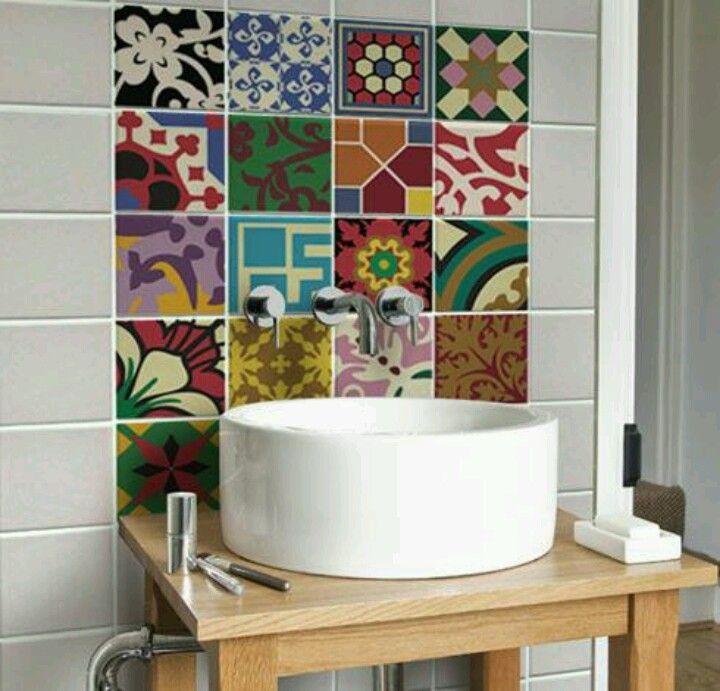 lavabo decoracao barata:Adesivos Para Azulejo