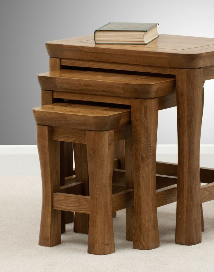 Orrick Solid Oak Low Bookcase Drawer Nest of Tables www.oakfurnitureland.co.uk