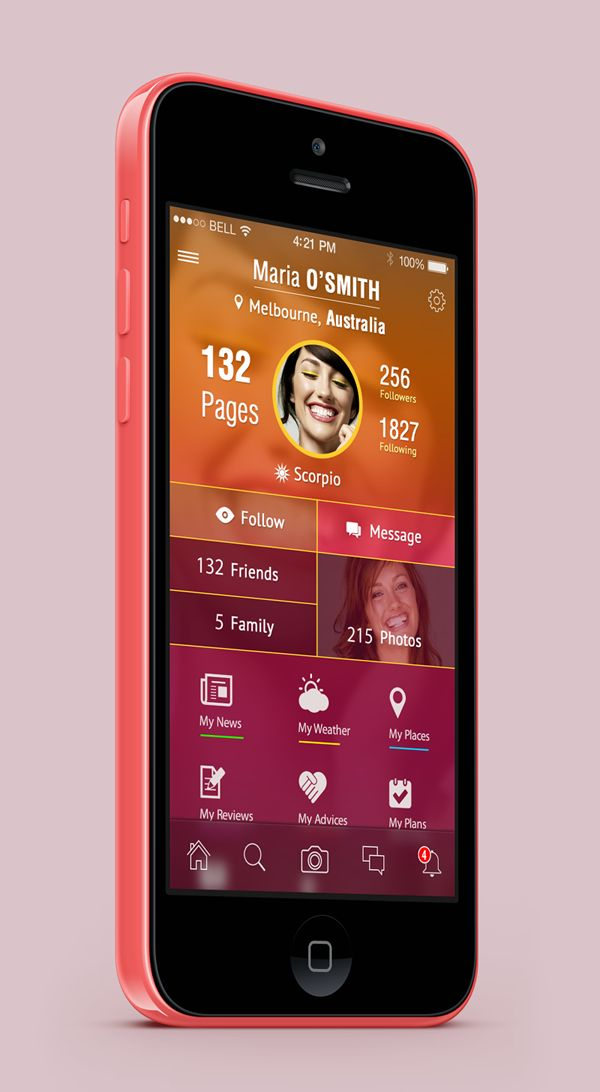 Social App Profile Screen ios 7
