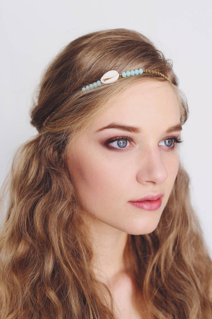 http://vousmademoiselle.com/  Bijou de tête mariage Mermaid Headband wedding Mermaid with glass beads, gold brass and cauris