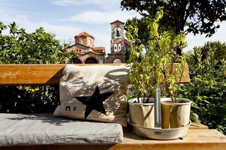 Outdoor cafe bar restaurant π2 πsquare @ pikermi square Attica Greece