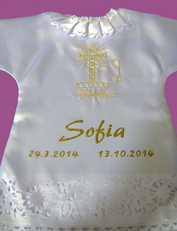 Saténová košieľka na krst + kryštály Swarovski