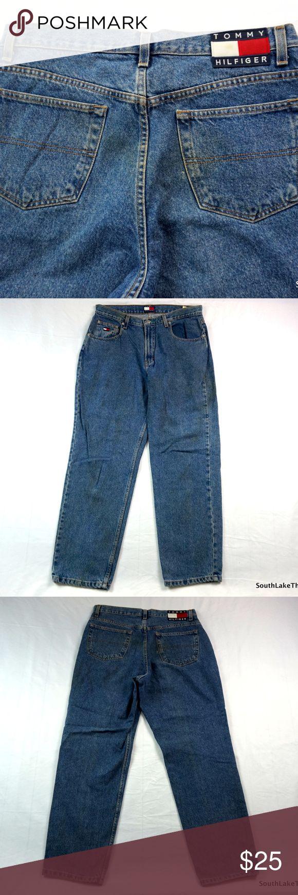 "VTG Tommy Hilfiger Flag Logo Jeans Men's Size 33 Tommy Hilfiger Tommy Jeans Denim Blue Jeans - Adult Large, L - Great Shape - Tommy Jeans - Rare - vtg - vintage - polo by Ralph Lauren - designer  Brand:      Tommy Hilfiger Size:         Men's Size 33 Type:        Pants (Blue Jeans) Material:  Denim  Measurements: Waist Measures:  33"" inches Inseam:                30"" inches Length:                 40.5"" Inches Tommy Hilfiger Jeans Relaxed"