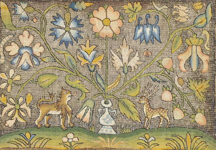 embroidered panel, late 17th century