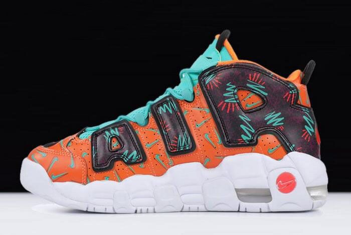 "sale retailer 520d8 26748 Nike Air More Uptempo ""What The 90s"" Total Orange Black-Hyper Jade-Bordeaux  AT3408-800"