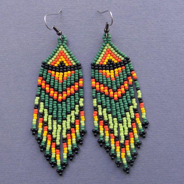 Green, Yellow, Black and Orange Native American Style Long Seed Bead Earrings - beaded earrings, tribal jewelry. $16.00, via Etsy.
