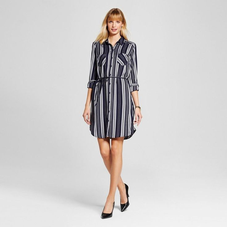 Women's Striped Shirt Dress Navy XS - Merona, Xavier Navy