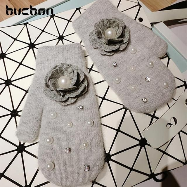 Hot Winter Female Gloves Rabbit Fur Blended Warm Women Gloves Handmade Woolen Flowers Diamond Cute Fingerless Mittens AGB323