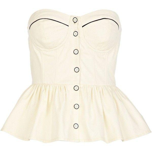 River Island Cream corset peplum top (145 SEK) ❤ liked on Polyvore featuring tops, shirts, corset, blusas, white corset top, peplum shirt, cotton shirts, white cotton shirt and cream peplum top