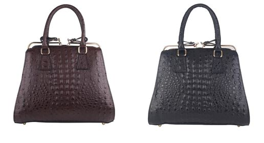 Beautiful in Italian croc print leather is our popular Tiffany bag, now available in black and brown. Timeless shape and style, this is the perfect stand out piece to add to your wardrobe.