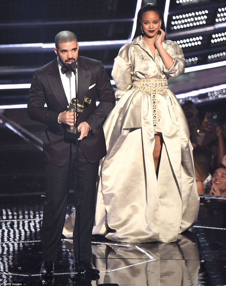 Doing the honours: The 29-year-old delivered an impassioned speech, praising Rihanna, as he presented her with the iconic award