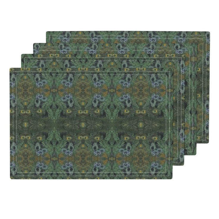 """Set of four (13 x 19 inches size) cloth placemats feature """"Peacock Feathers 12"""" fabric © Nancy Lee Moran, a sophisticated design in colors of gold and green. The customizable set of cloth placemats is available in three fabric options. Eco Canvas is durable, for family dinners.  Linen Cotton makes a natural placemat that will get softer with use.  Organic Sateen offers a lightweight, decorative option, made in the USA by Roostery.com. Click the photo to see placemats. #NancyLeeMoran"""