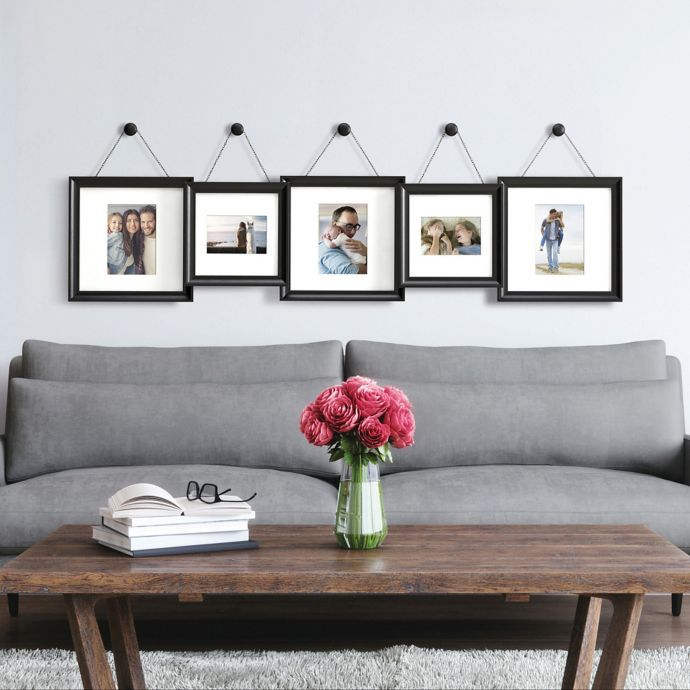 Gallery 5 Photo Hanging Finial Frame Set In Satin Black Bed Bath Beyond Hanging Photos Hanging Picture Frames Frame Set