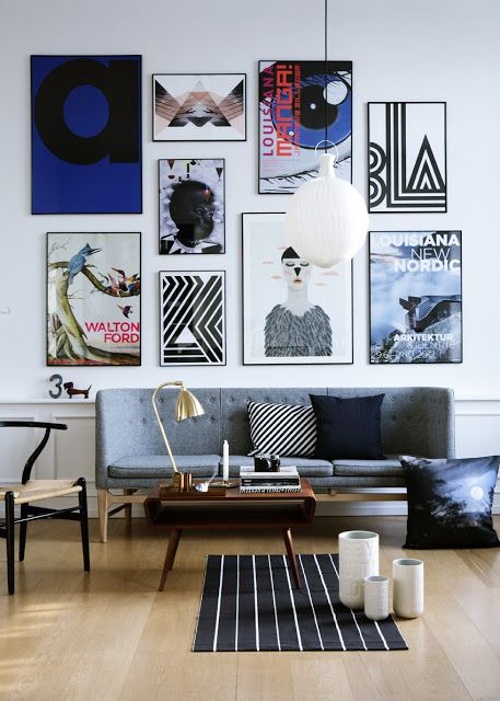 A quirky Stockholm loft on bloglovin Like the artwork display.