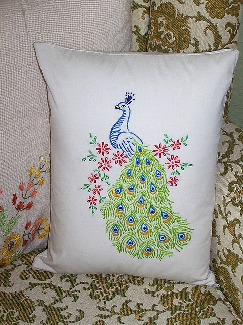 My Embroidered Throw Pillow Ideas: 843 best PEACOCK linens pillows images on Pinterest   Cushions    ,