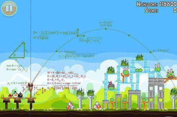 Angry Birds bevat duidelijke wiskundige elementen. Wiskunde heb je nodig voor toffe dingen.
