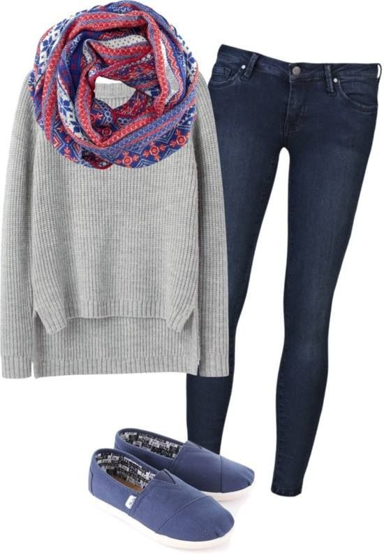 Gray Sweater with Navy and Purple Scarf, Navy Toms, and Blue Skinny Jeans