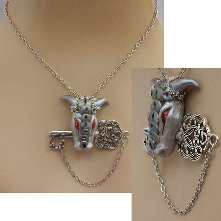 Dragon Key Pendant Necklace Jewelry Handmade NEW Hand Sculpted NEW Clay Silver #Handmade #Pendant